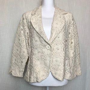 CYNTHIA ROWLEY XL Ivory Lace Blazer Jacket
